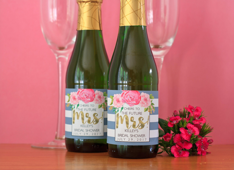 Floral Bridal Shower Mini Champagne Label Peony Bridal | Etsy
