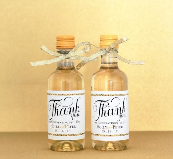 Gold Wedding Mini Wine Bottle Labels Personalized Wedding Etsy