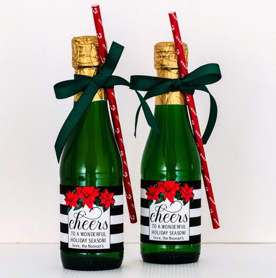 Personalized Christmas Party Favors Holiday Mini Champagne Etsy
