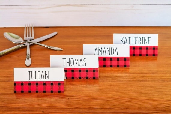 PRINTED Buffalo Plaid Christmas Place Cards Holiday Place Etsy