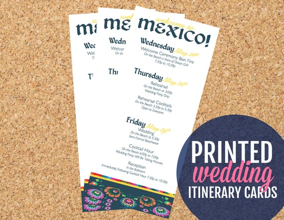 Tropical Wedding Itinerary Cards Destination Wedding Welcome Etsy