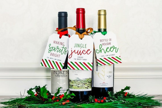 Christmas Wine.Personalized Christmas Wine Tags Ribbon Holiday Wine Bottle Tags Funny Gift Tags For Bottles Office Christmas Gift Hostess Gift