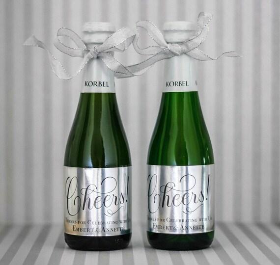 Silver Foil Mini Wine Bottle Labels Wedding Metallic Silver Etsy