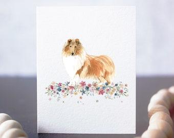Rough Collie Card, Collies, Lassie, rough collie art, rough collie card, also resembles shetland sheepdog - sheltie card