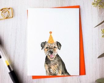 Border Terrier birthday card, handmade dog card, watercolor border terrier art
