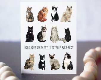 Cat Birthday Card - Cat Card - Kitty Birthday Card - Card for Cat Owner