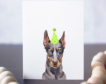 Doberman Pinscher birthday card, dog party invitation, gift for vet tech, card for dog owner, doberman