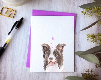 Border Collie birthday card, card for dog lover, lilac border collie art, new dog card