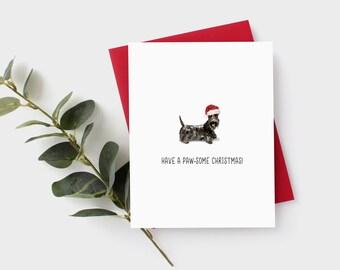 Scottish Terrier Card - Scottie Card - Scotties - Christmas Card - Scottie Christmas Card - Dog Card