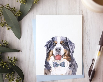 Bernese Mountain Dog birthday card, dog stationery, card for bernese owner, berner dogs