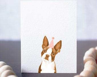 Brown Boston Terrier card, handmade dog card, watercolor boston terrier, birthday card for dog owner
