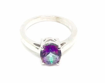 811906e3dc Mystic topaz ring set in sterling silver 925. Rainbow mystic stone . Size  6, 8. Satisfaction guaranteed