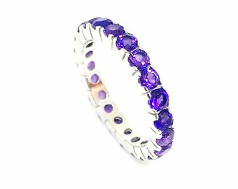 a80aff78d Amethyst ring set in solid Sterling silver 92.5. Size -6. Amethyst eternity  band. Genuine natural amethyst stones.