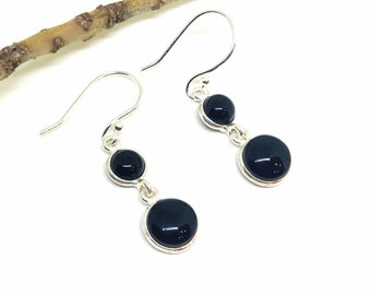 d0594c5b0 Black obsidian earrings set in sterling silver 925. Natural authentic black  obsidian perfectly matched stones. Length- 1 inch.