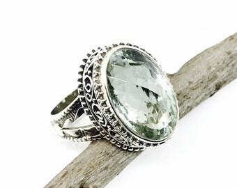 Green amethyst ring set in sterling silver 925. Genuine natural checkerboard green amethyst stone. Size -7