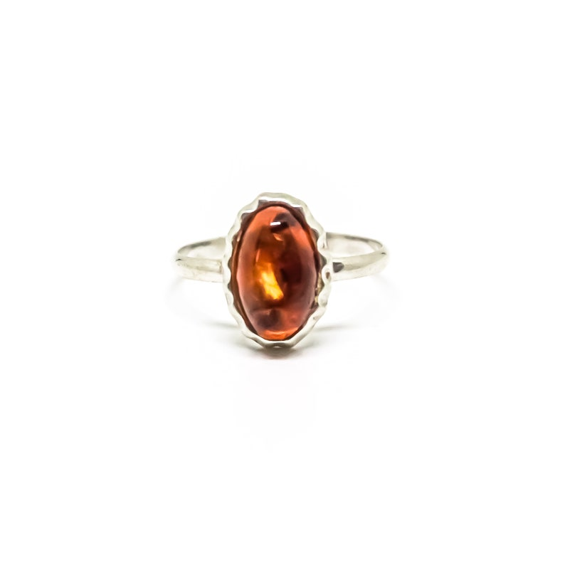 Sterling Silver Amber Oval Ring 6