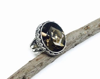 Smokey Topaz ring set in sterling silver 925. size -6. Natural genuine stone.