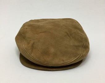 7b16781ef42 Vintage 80  KANGOL Design Leather Barrette Newsboy Hat Sz (L~XL) Adjustable  Made in USA
