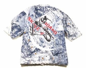 293a53cba08 Vintage SKATEBOARD volledige gedrukte Home Deco geïsoleerd Pyjamas Robe Sz  groot