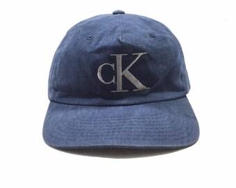 b0b8861b9d1 Vintage 90  CALVIN KLEIN JEANS cK Logo Manhattan Snapback Cap Made in Usa