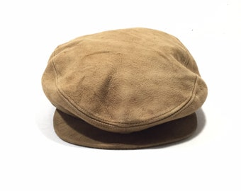 696ae7c5 Vintage 80' KANGOL Design Leather Newsboy Hats Made in USA
