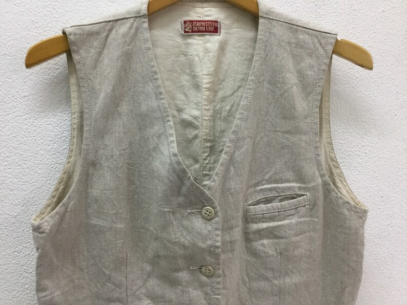 45RPM STUDIO Denim Line Vest Jacket Sz Small Made in Japan