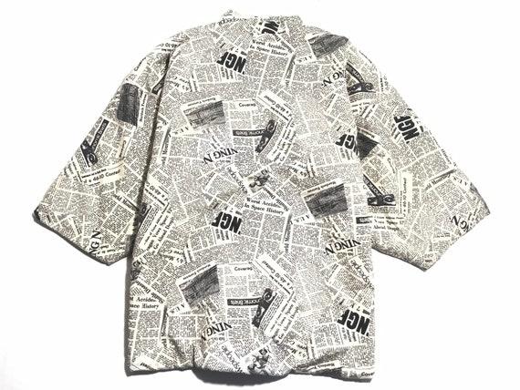 Vintage 90' MISSY GRAY Newspaper Retro Kimono Quil