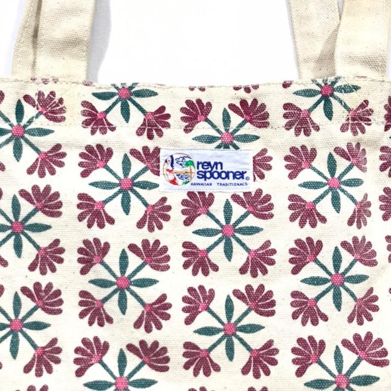 Vintage REYN SPOONER Hawaiian Traditional Floral Canvas Tote Bag
