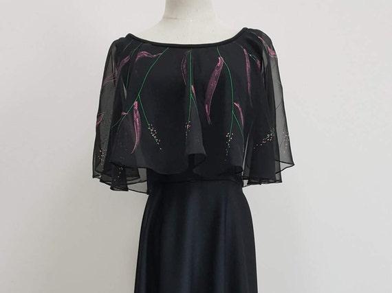 Vintage 1970s Black Capelet Dress