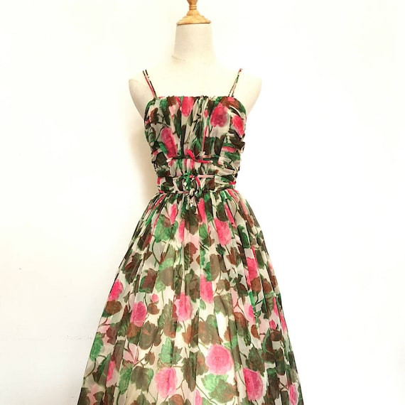 1950s Watercolour Rose Dress