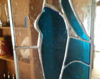 Blue green cat at rainy window