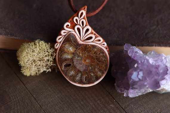 Budding Flower Labradorite Pendant Handmade Floral Design Jewelry Rustic Style Ceramic Jewelry Spring Inspired Necklace