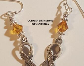 Birthstone Charm Earrings ( LargeAngel,Small Angel,Hope)