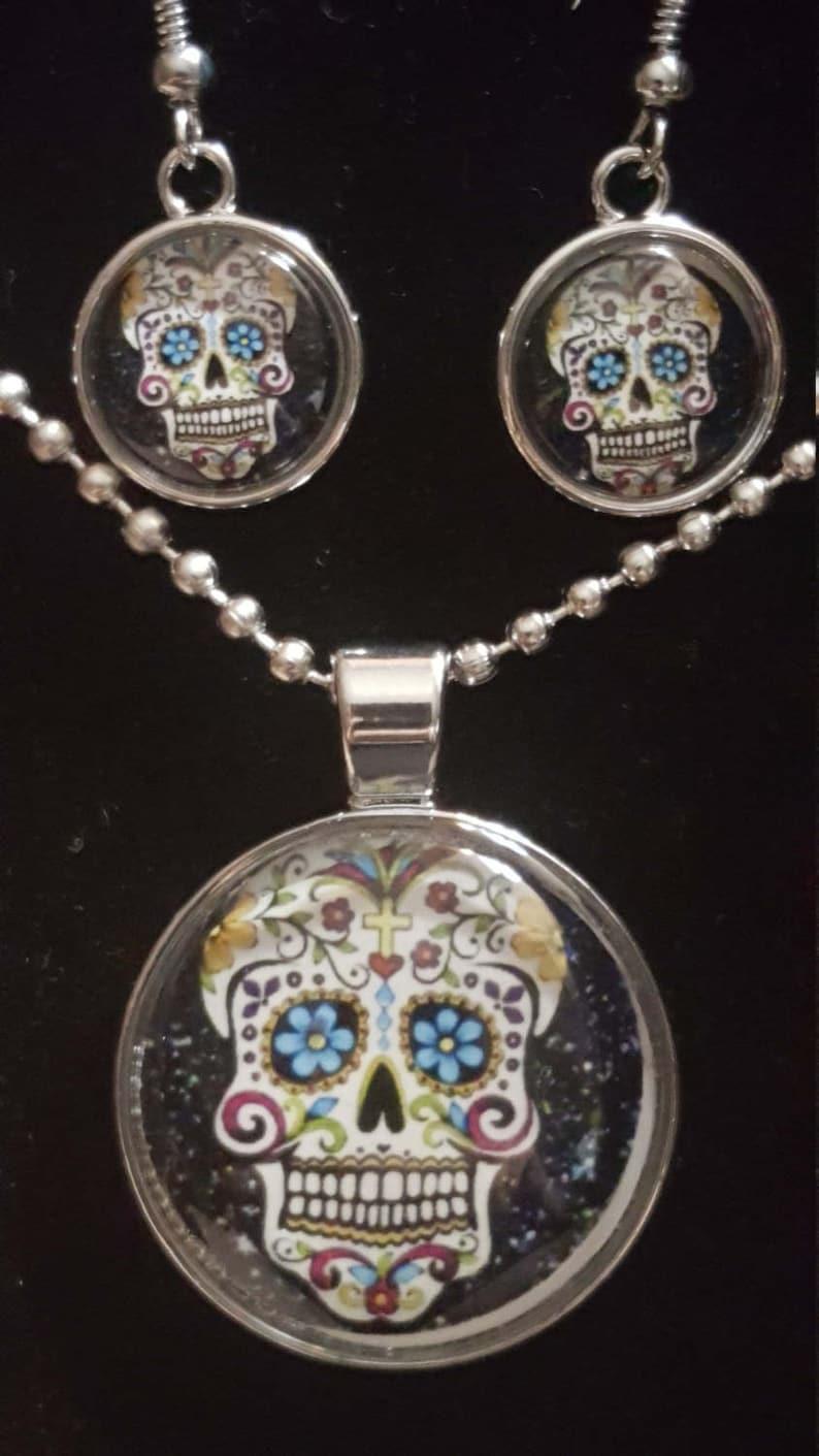 Walking Dead,Gear Lion,Dragon,Skull,Panda Bear Cabochon Glass Pendant Necklace Jewelry Set