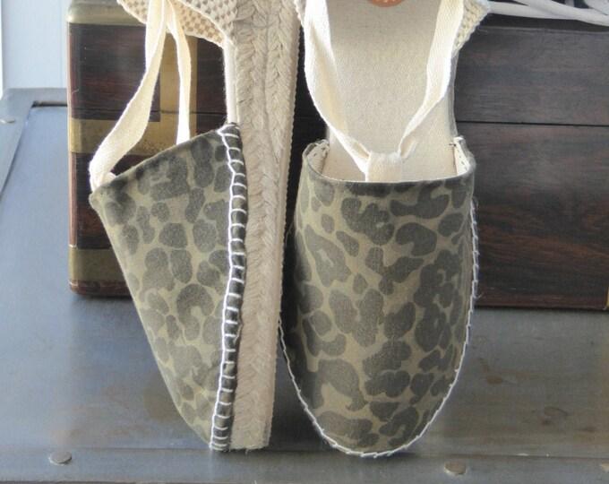 ESPADRILLE MINI WEDGES - organic vegan sustainable - Lace Up (3cm - 1.18i) - Safari/Camo/Cheetah/Animal print/Monstera - Made in Spain