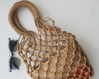 Hemp mesh handbag with inside basket -  30cm x 15cm  - HEMP MESH with BASKET - handmade - www.mumicospain.com