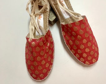ESPADRILLE FLATS SIZE eu 41 (us 9.5), golden collection - made in Spain - ecologic, sustainable, vegan