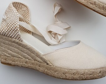 ESPADRILLES WEDGES - Lace up espadrille wedges - IVORY - Handmade in Spain - www.mumicospain.com
