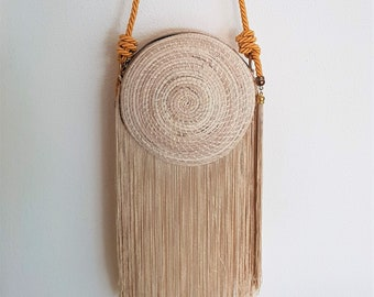 Iraca palm handbag - IRACA PALM basket bag with FRINGES - handmade in Colombia