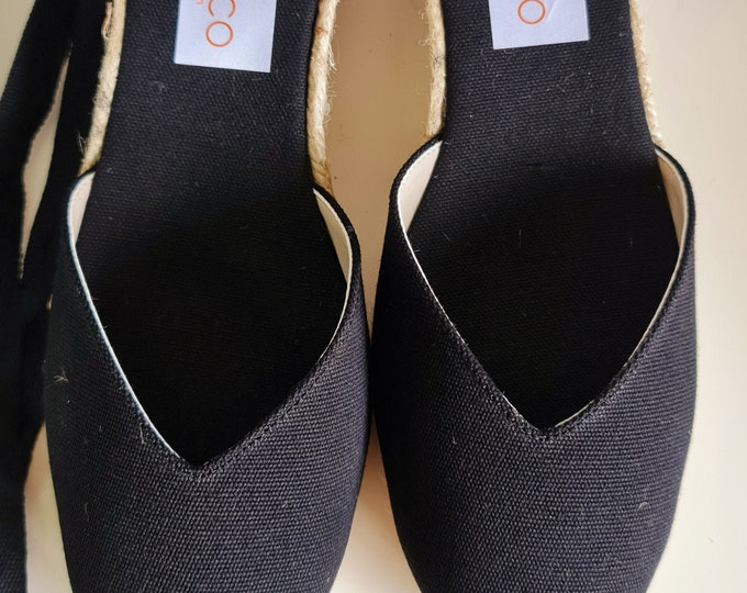 ESPADRILLES WEDGES PUMPS - heart shaped - organic vegan sustainable - Lace Up  (5cm - 1.97i) - front stitching/ black - Made in Spain