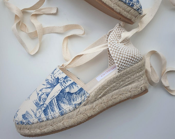 ESPADRILLE MEDIUM WEDGES - organic vegan sustainable - Lace Up (5cm - 1.97i) - MuMiCo Collection 2021 - Made in Spain