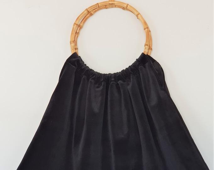 Velvet Bag with bamboo handles - VELVET BAG (64 cm x 37 cm - handles 20 cm)  - www.mumicospain.com