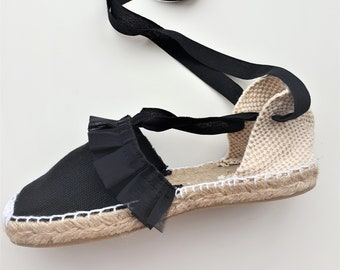 Flat shoes for girl: Lace-up Espadrilles - BLACK ORGANZA TRIM - made in Spain - www.mumicospain.com