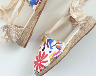 Lace-up Espadrille Mini Wedges - MEXICAN PATTERN - Made In Spain - www.mumicospain.com