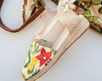 PACK: Lace-up Espadrille 3cm mini wedges + matching bag - FRIDA KHALO  - Made In Spain - www.mumicospain.com