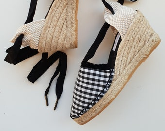 Lace-up espadrille 7cm wedges - GINGHAM COLLECTION - Made In Spain - www.mumicospain.com