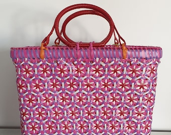 MOWGS Petal Basket - Handwoven with recycled plastic - 28cm x 34cm x 17cm - MOWGS MEDIUM- made in Myanmar