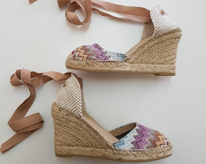 Featured listing image: Lace-up espadrille wedges - LIMITED EDITION ZIGZAG - made in Spain - www.mumicospain.com