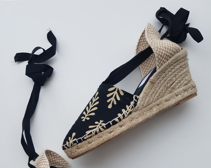 Lace-up ESPADRILLE WEDGES  - organic vegan sustainable - SIZE eu 36 (Us 6) - MuMiCo Collection 2020 - Made in Spain