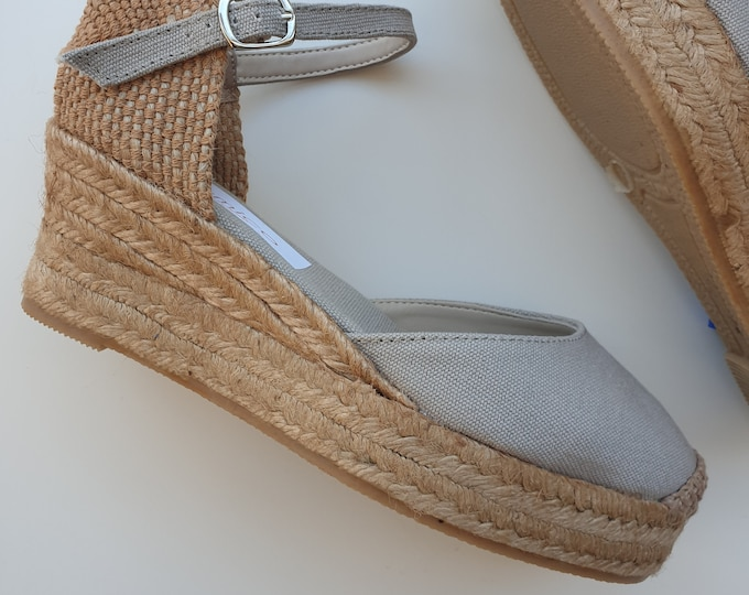 ESPADRILLES WEDGES PLATFORM - Ankle strap espadrille low wedges with platform - taupe canvas - made in Spain - organic sustainable fashion